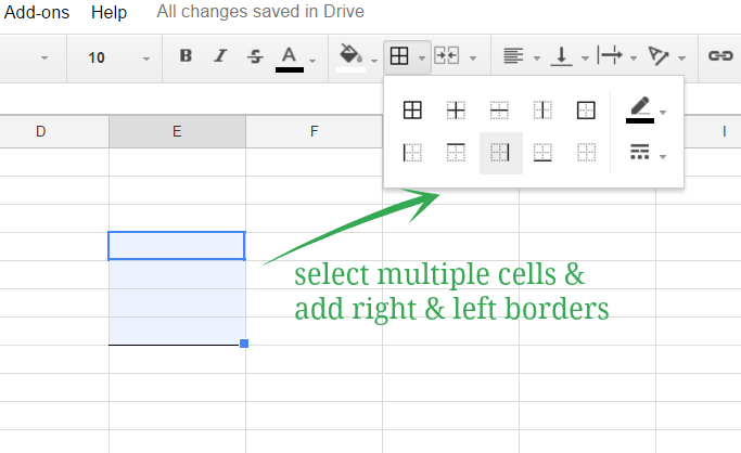 selecting multiple cells to apply border when creating bracket