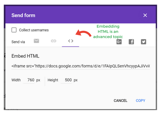 screenshot of google form send options embedding in HTML