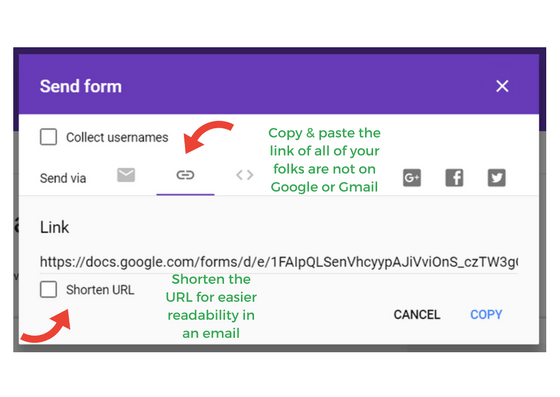 screenshot of google form send options with a link
