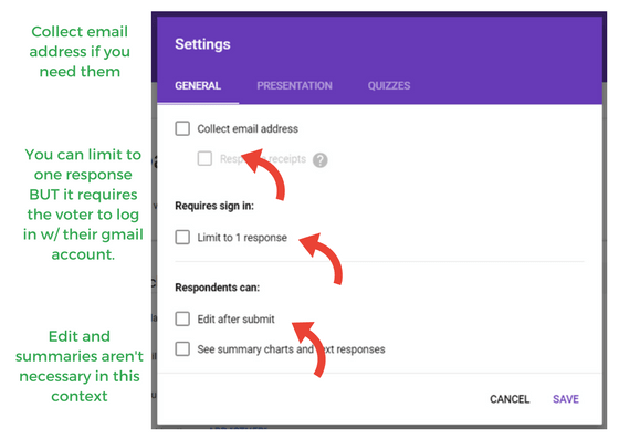 screen shot of google forms general settings