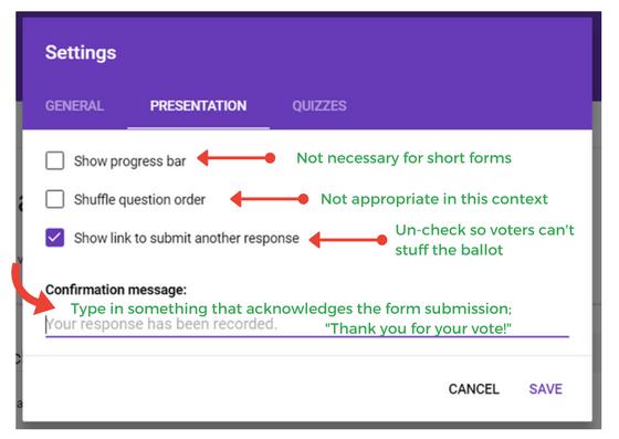 screenshot of google forms presentation settings