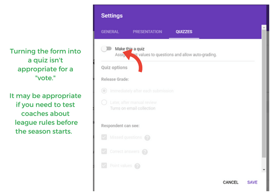screenshot of google form quiz settings