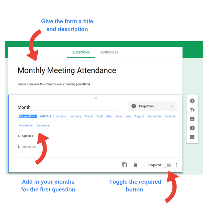 Automate Meeting Attendance screen shot of steps 2 & 3 of form creation